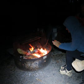 The campfire pits at each site with a grilling platform.