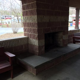 Bathhouse #2  near site 93 where we were staying has this a fireplace and hangout area.