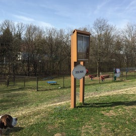 The dog park has two off-leash fenced areas.