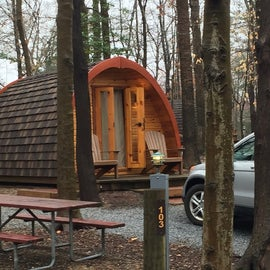 Cool little glamping pods.