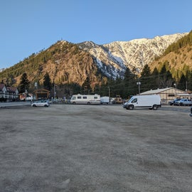 View of the parking lot from its East end
