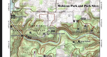 Mohican Memorial Forest (Park and Pack) trailhead for Campsite 8, 9 & 10