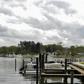 The marina is next to the campground and leads to Lake Marion.