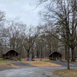 Cabins near the main bath house
