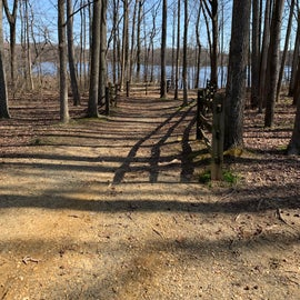 Trail to pond pier and trails. This is next to site 37 and a camper would be close to this.