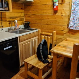 Small kitchenette in the deluxe cabin