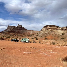 Camping spots with Temple Mountain backdrop