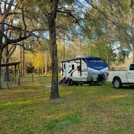 Our large camping area near a horse corral.  Our site was about 1/4 acre.