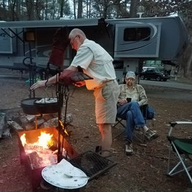 Cooking over the fire at Joe Wheeler State Park.
