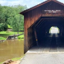Walk, bike, or drive thru.  The longest original covered bridge still in existence in Georgia.