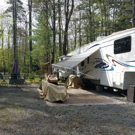 Lots of seasonal campers.  Some sites have large patios for outdoor activities.
