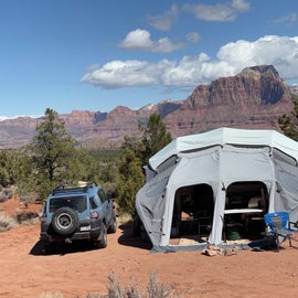 We were glad for the Annex on the camper for wind protection a few nights.