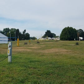 Large field behind our site with horseshoes, volleyball and pavillion.