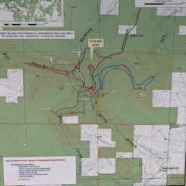 Map of campground and nearby hiking trails