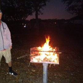grill in open camping area