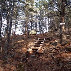 Steps leading up to the small campsite