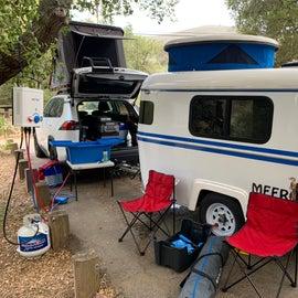 Camper trailer, hot tap + sink, Sparrow EYE roof nest.