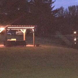gazebos on the lake at night
