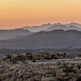 The afterglow of sunset over the Superstition Mountains.
