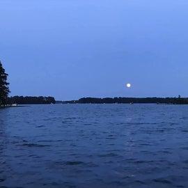 Moon rising over Dreher Island park