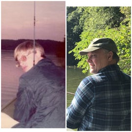 Left picture 1974 -one of our first dates right here at Loud Thunder. The Right picture is 2020 after 45 years of marriage.
