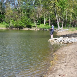Fishing in the larger of 2 ponds