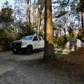 My campsite was hard to pull into.