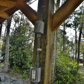 The site had a light, AC outlet, and USB ports.