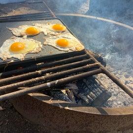 breakfast over open fire