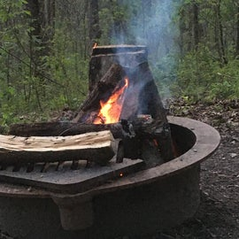 Fire pit at the campsite