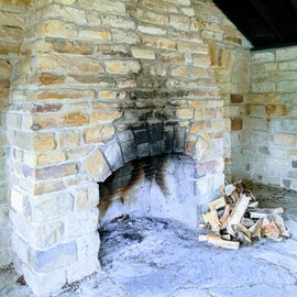 Stone Fireplace in Shelter