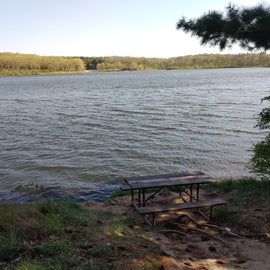 Hidden picnic spot on the lake trail