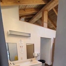 Womens bathroom has an outlet