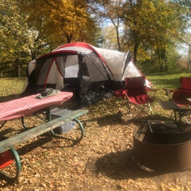 Primitive camping spot after setting up