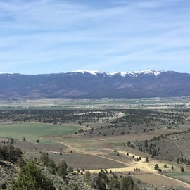 looking over the wall at the RV park, down into the valley