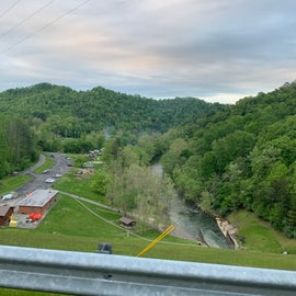 view of campground from the top of the Dam