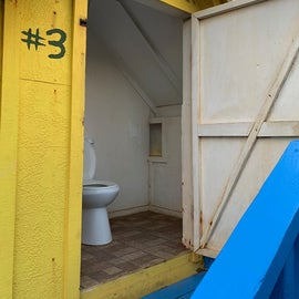 Flushable toilets, very clean! Usually a roll of TP in there but bring an extra roll just in case.