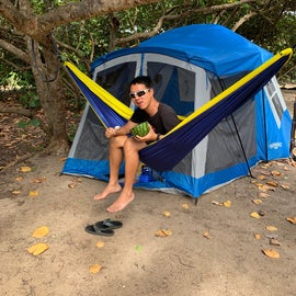 Our camping set up, nice to choose the campsites with trees for shade and hammocks
