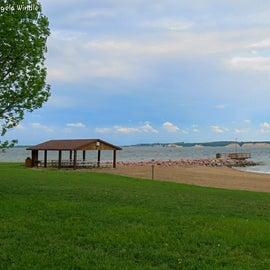 beach with fishing dock
