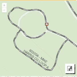 Google map view of the campground--Loop A is the new area. They have pit toilets throughout the campground and water spickets, no. electric or sewer
