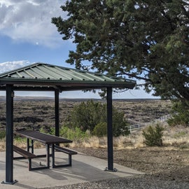 View from our picnic table overlooking the area of lava field open for hiking