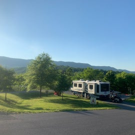 View of a RV site from the top of the hill.