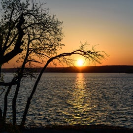 Sunrise, Fort Gibson Lake.  View from the far east side of Rocky Point.