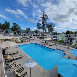 View of the pool and rental units.