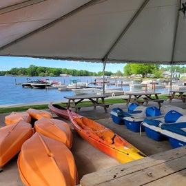 Rental kayaks and paddle boats