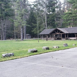 This is the larger of the two picnic pavilions available to rent, at one end of the field Horseshoe Recreation Area CG