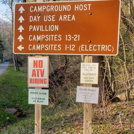 The campground is lower than the main road.