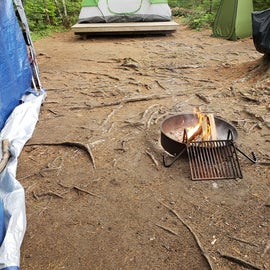"""Firepit and Tent """"pad"""" at site 1A"""