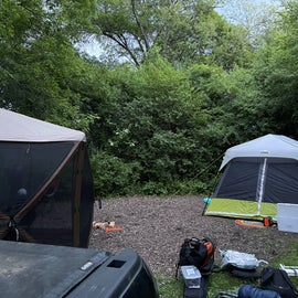 Camping pad is large enough for our 9x13 tent and 11.5x11.5 Clam Escape shelter