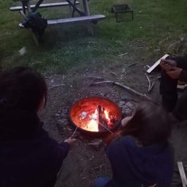 toasting marshmallows right by the pond